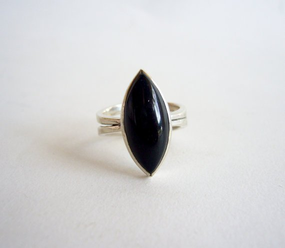 Jack Nutting sterling silver and black jadeite ring
