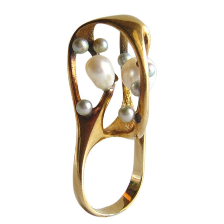 J. Arnold Frew gold and pearl ring