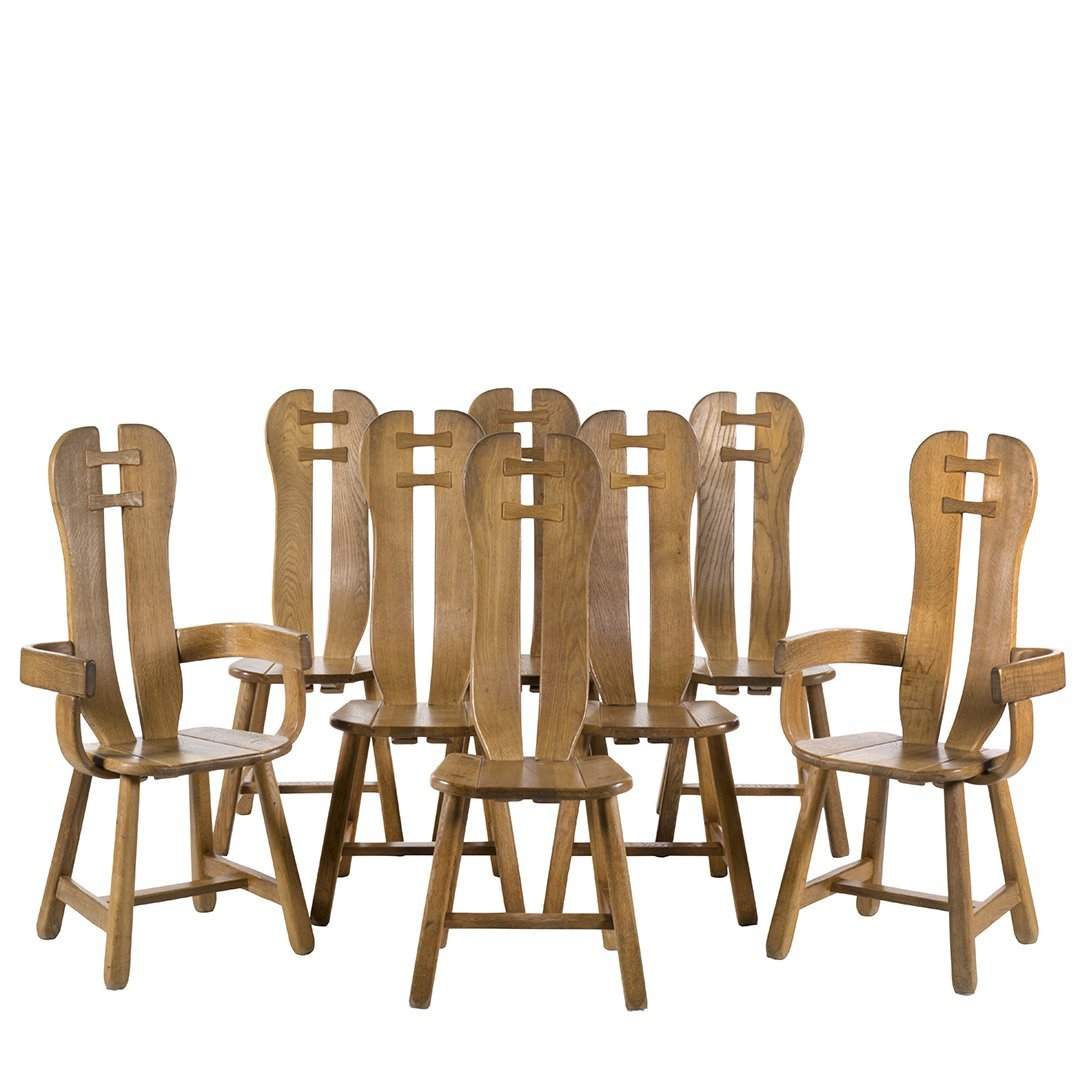 Guillerme and Chambron dining chairs (8)