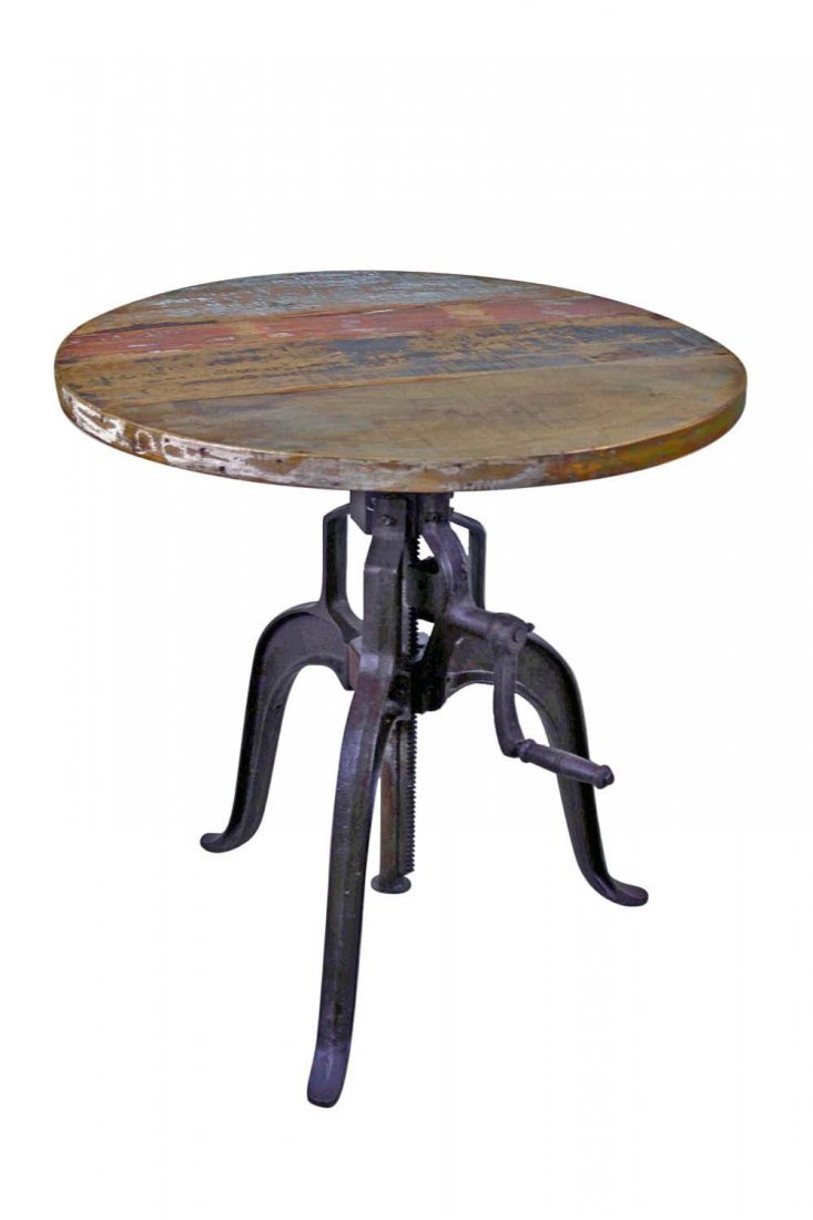 Iron and Reclaimed Wood Crank Pub Table