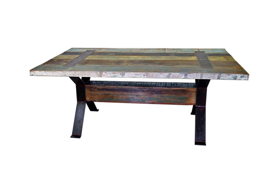 Iron and Reclaimed Wood Dining Table
