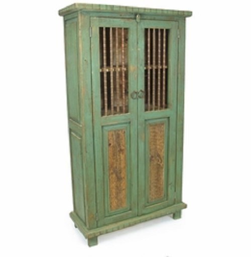 Mexican Reclaimed Painted Wood Cabinet w/Spindle Door