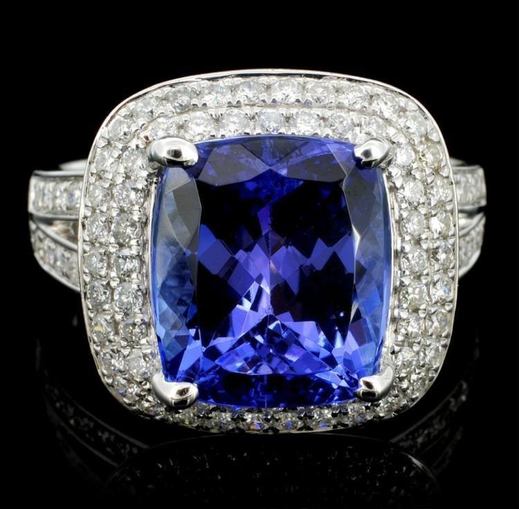 18K White Gold 5.30ct Tanzanite & 0.89ct Diamond Ring