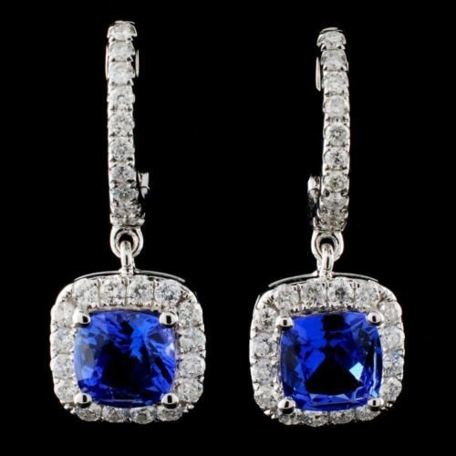 14K Gold 2.15ct Tanzanite & 0.75ct Diamond Earring
