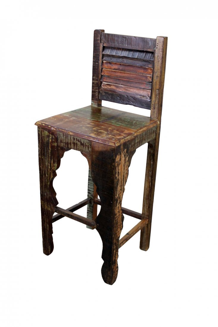 Recycled Mexican Wood Bar Stool