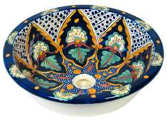 Native Mexican Hand Painted Sink / Wash Basin