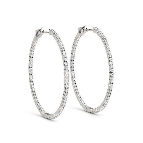 2 Carat Diamonds Hoops in 14K White gold.