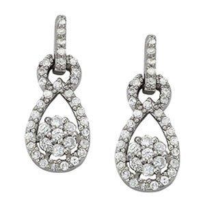 1/2 Carat Circle Drop Pear Shape Love Diamond Earrings