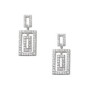 Dangling Rectangle In Rectangle Diamond Earrings