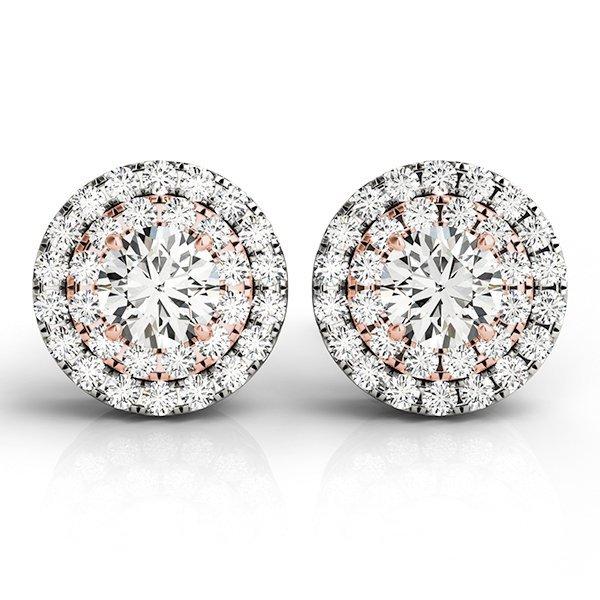 .90 Carat Two tone Round Diamond Studs