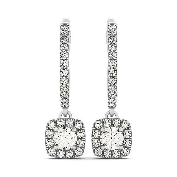 1 Carat Diamond Dangling Cushion Halo Earrings in 14k