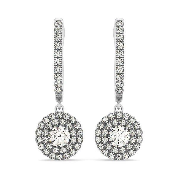 1 Carat Diamond Dangling Double Halo Earrings in 14k