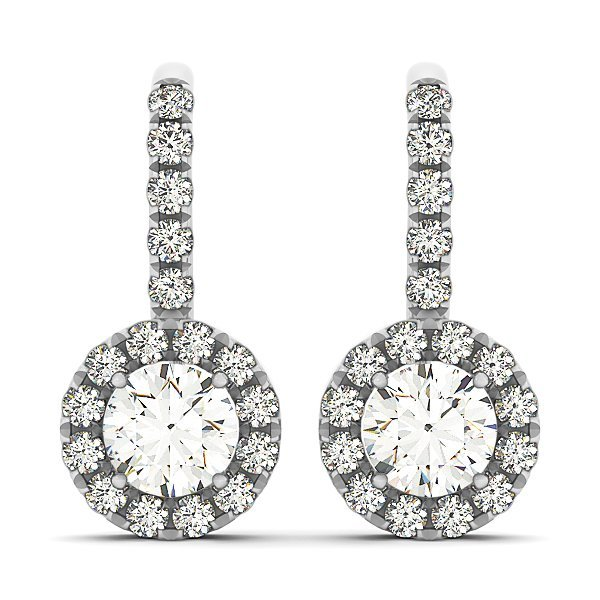 1 Carat Drop Halo Diamond Studs in 14k White gold