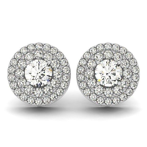 2 Carat Double Halo Diamond Studs in 14k White gold