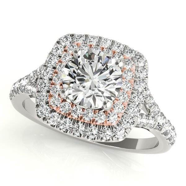 1 Carat Two Tone White and Rose gold Ring in 14k. 1/2