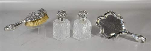 Assembled four (4) piece sterling silver dresser set to