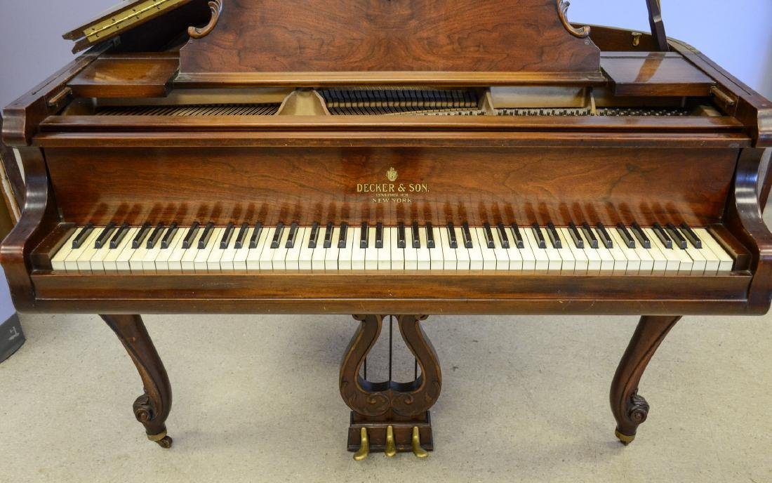 Decker and Co walnut Louis XIV style baby grand piano, - 2