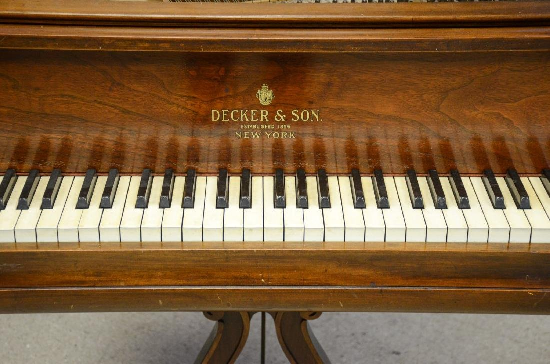 Decker and Co walnut Louis XIV style baby grand piano, - 3
