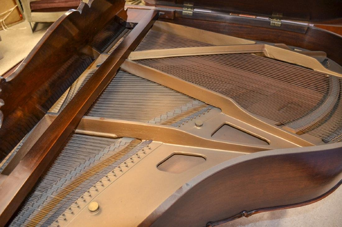 Decker and Co walnut Louis XIV style baby grand piano, - 5