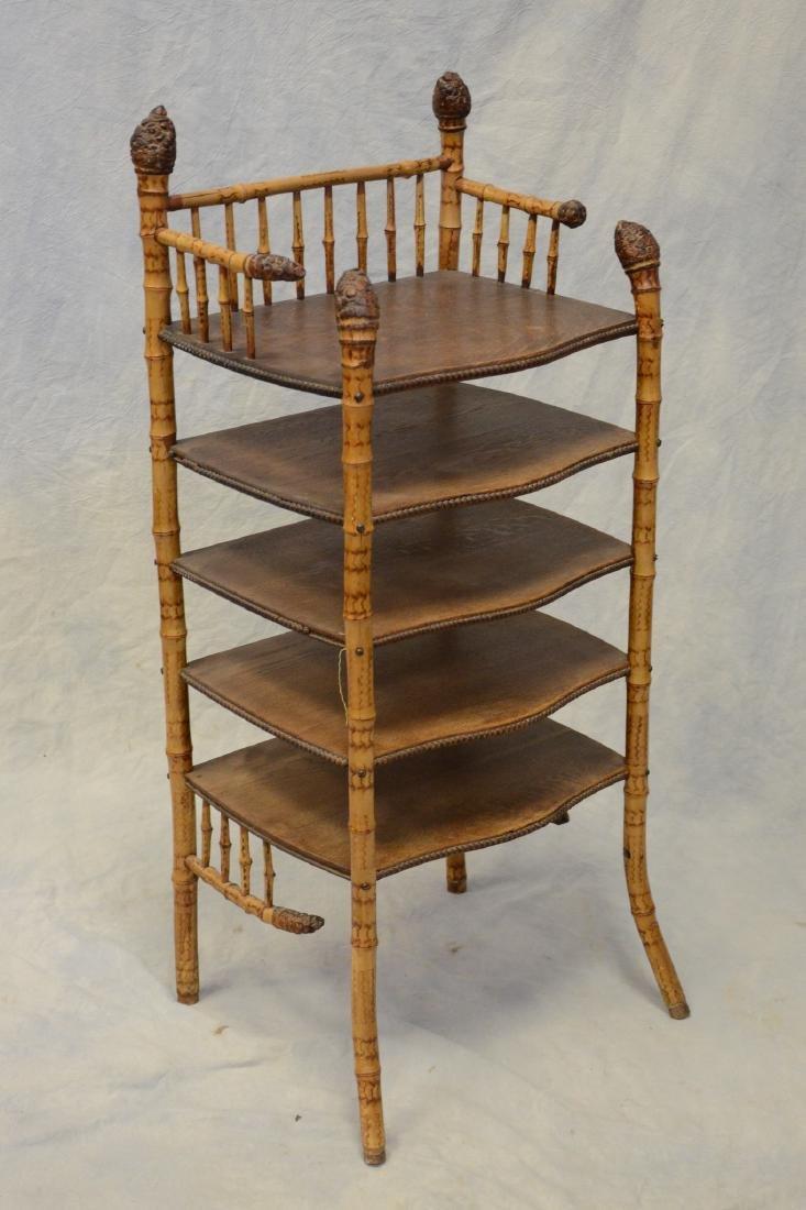 "Bamboo & oak 5 shelf bookshelf, 40"" h, 17"" w"