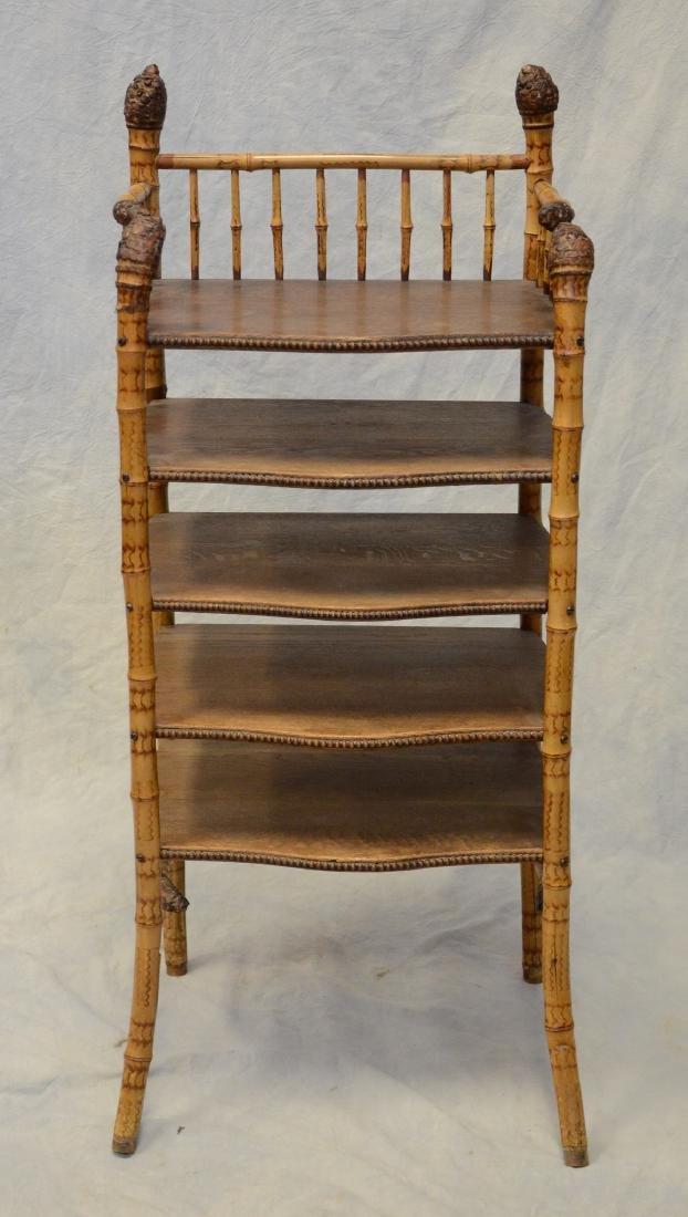 "Bamboo & oak 5 shelf bookshelf, 40"" h, 17"" w - 2"