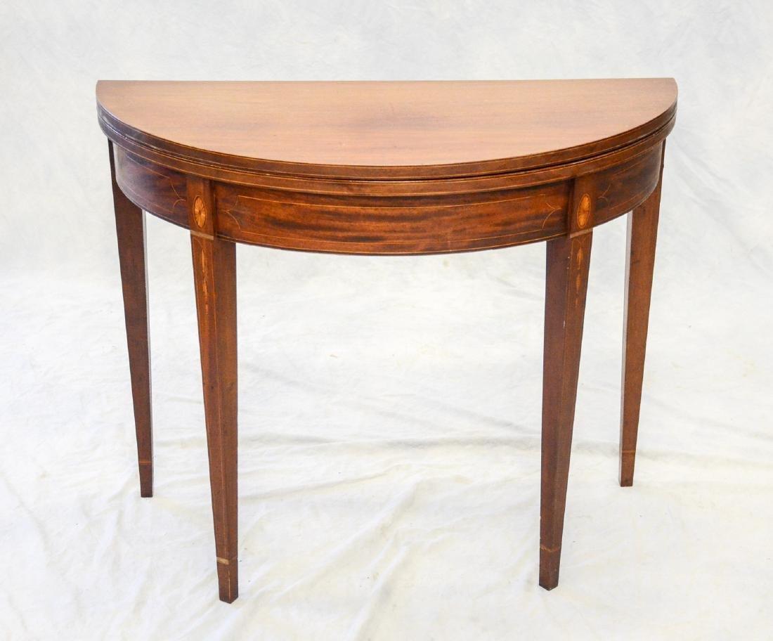 Hepplewhite mahogany flip top game table, bellflower