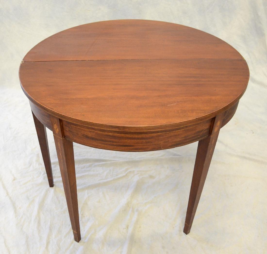 Hepplewhite mahogany flip top game table, bellflower - 3