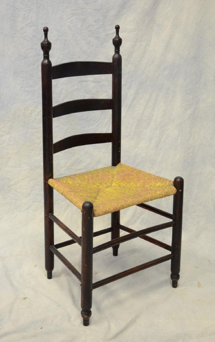 Bergen County, NJ 3 slat ladderback side chair, rush