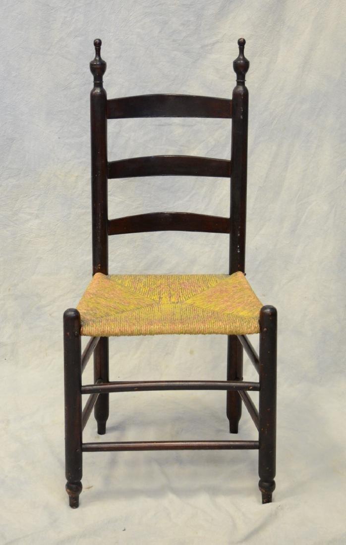 Bergen County, NJ 3 slat ladderback side chair, rush - 2