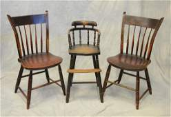 2 thumb back windsor side chairs, original painted