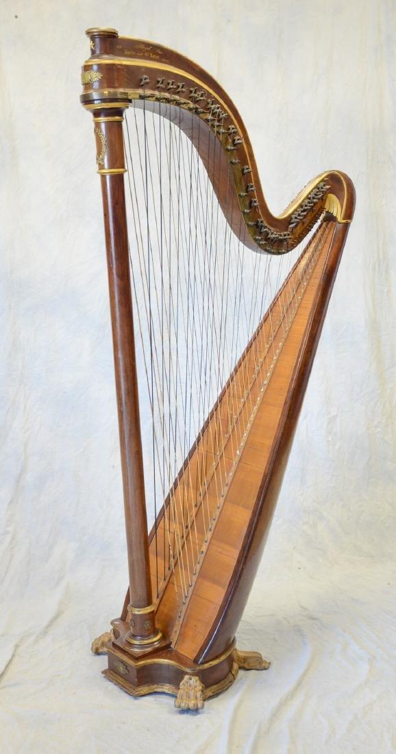 Antique French Chromatic Parcel Gilt Pleyel Paris Harp