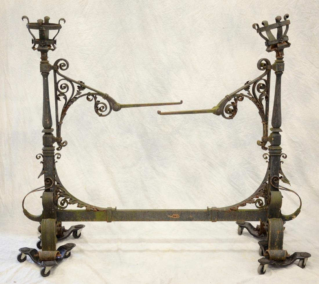 Gothic style wrought iron fireplace torchiere andirons,