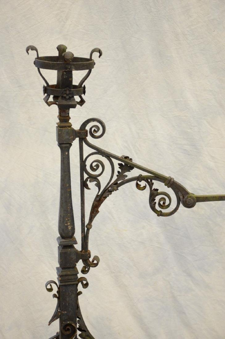Gothic style wrought iron fireplace torchiere andirons, - 2