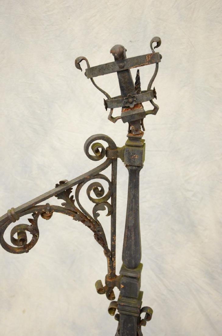Gothic style wrought iron fireplace torchiere andirons, - 3