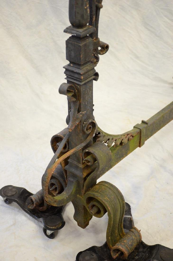 Gothic style wrought iron fireplace torchiere andirons, - 5