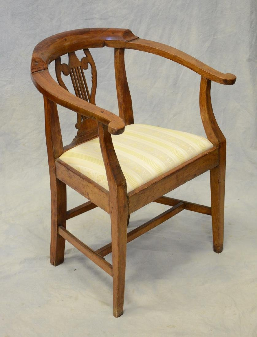 "Continental 19th c fruitwood armchair, lyre back, 32"" h"