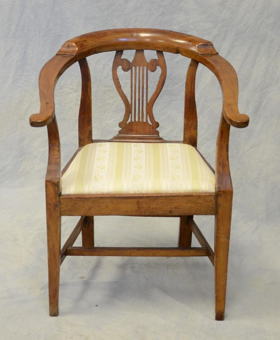 """Continental 19th c fruitwood armchair, lyre back, 32"""" h - 2"""