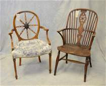 Adams style wheelback armchair with painted decoration,