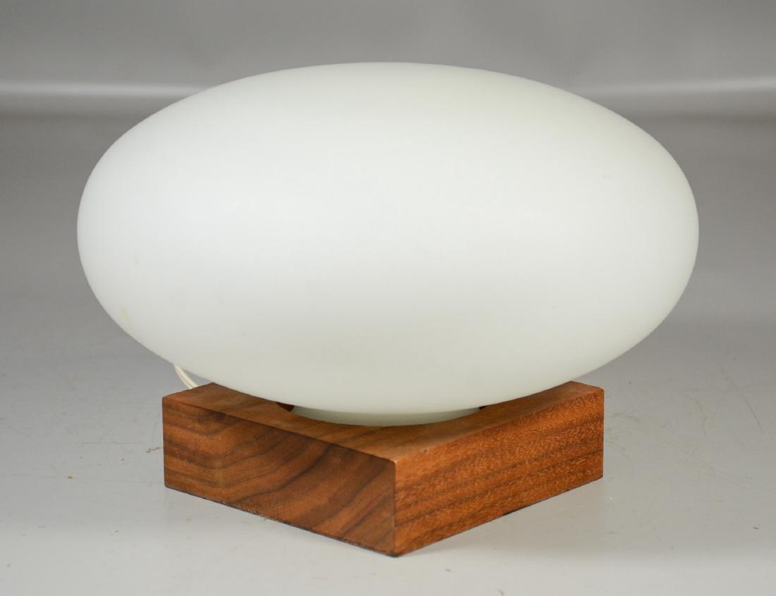 Mid Century modern mushroom glass shade on wood base,