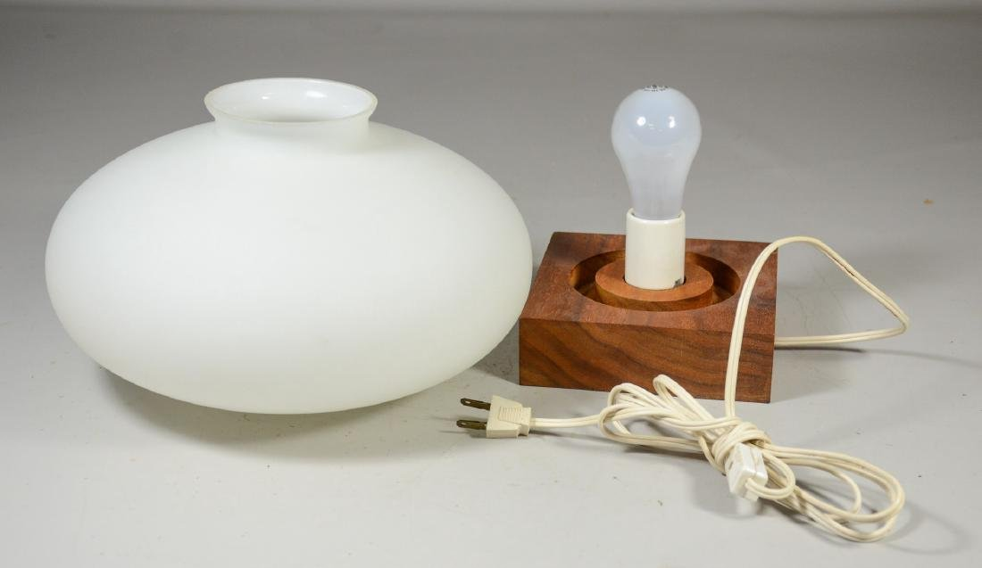 Mid Century modern mushroom glass shade on wood base, - 2
