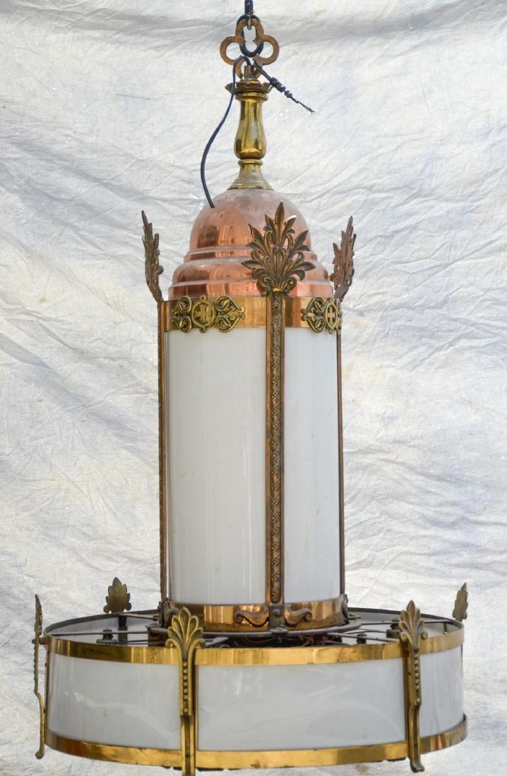 (9) Copper & brass tone church 12-light hanging lamps,