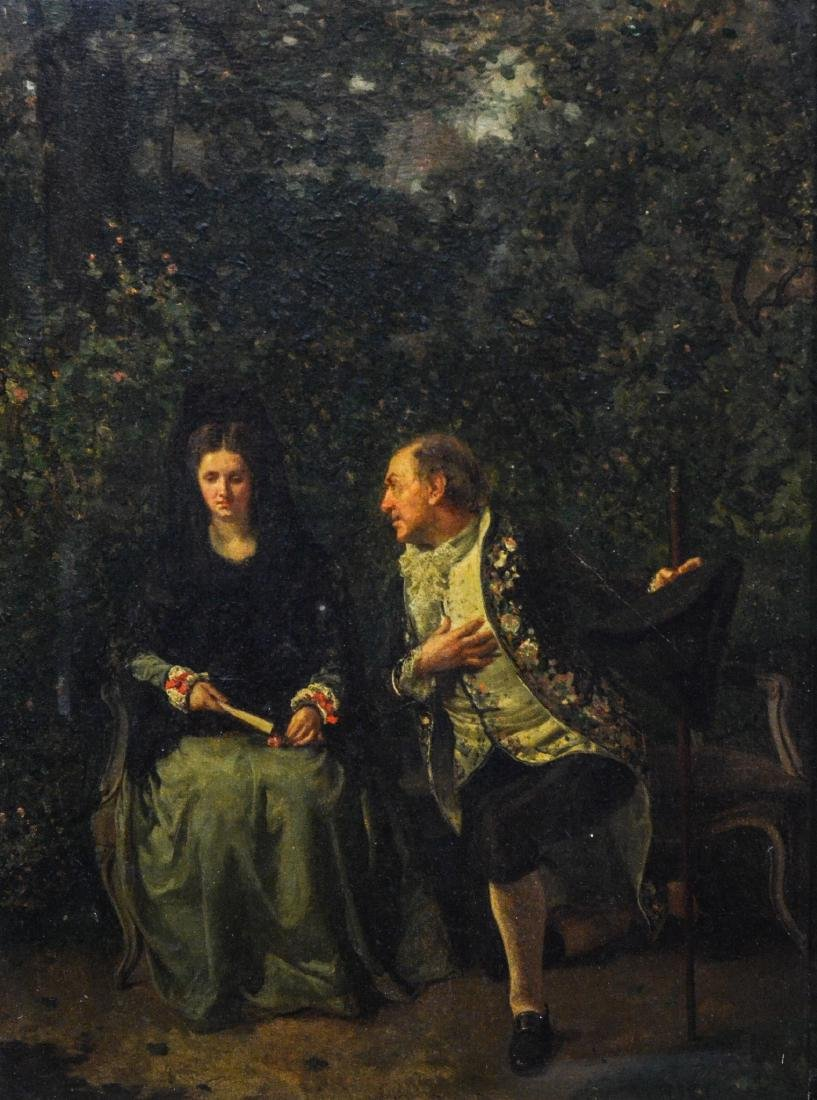 M Rico, oil painting on board, 19th century, signed