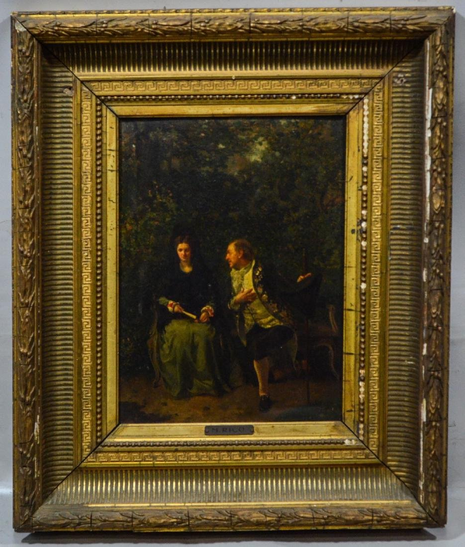 M Rico, oil painting on board, 19th century, signed - 2