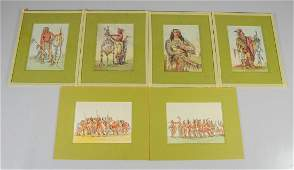 """6 George Catlin Color Lithographs from """"The Manners,"""