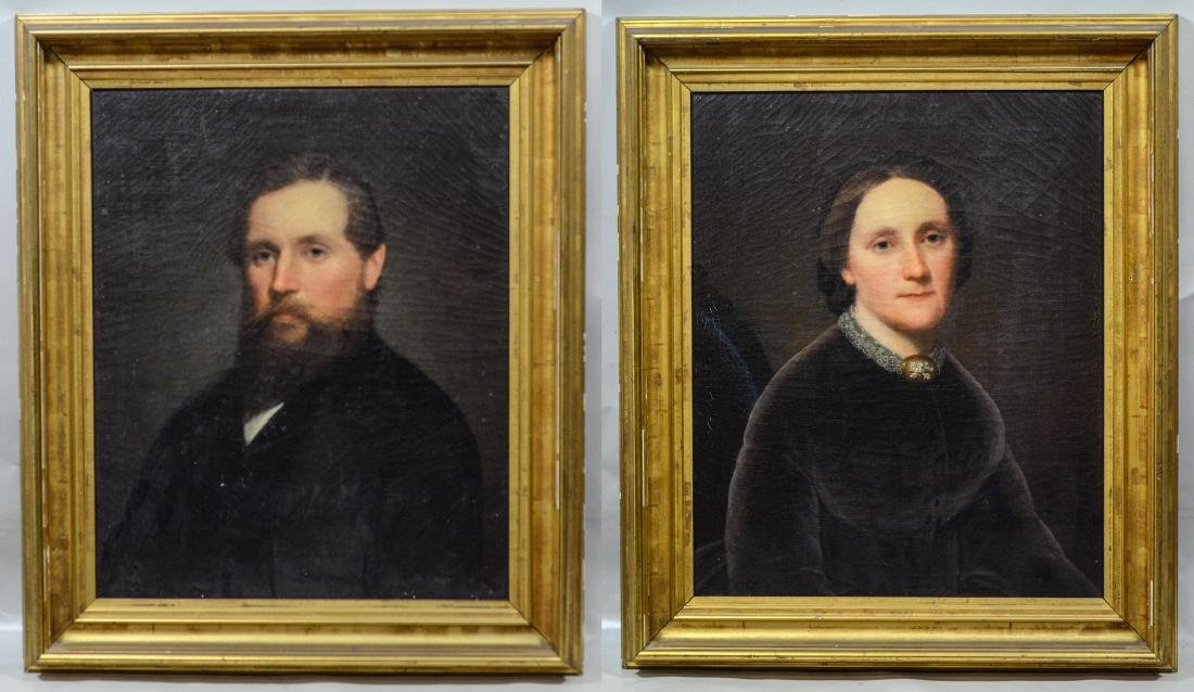 Pair of 19th century Portrait Paintings of a man and