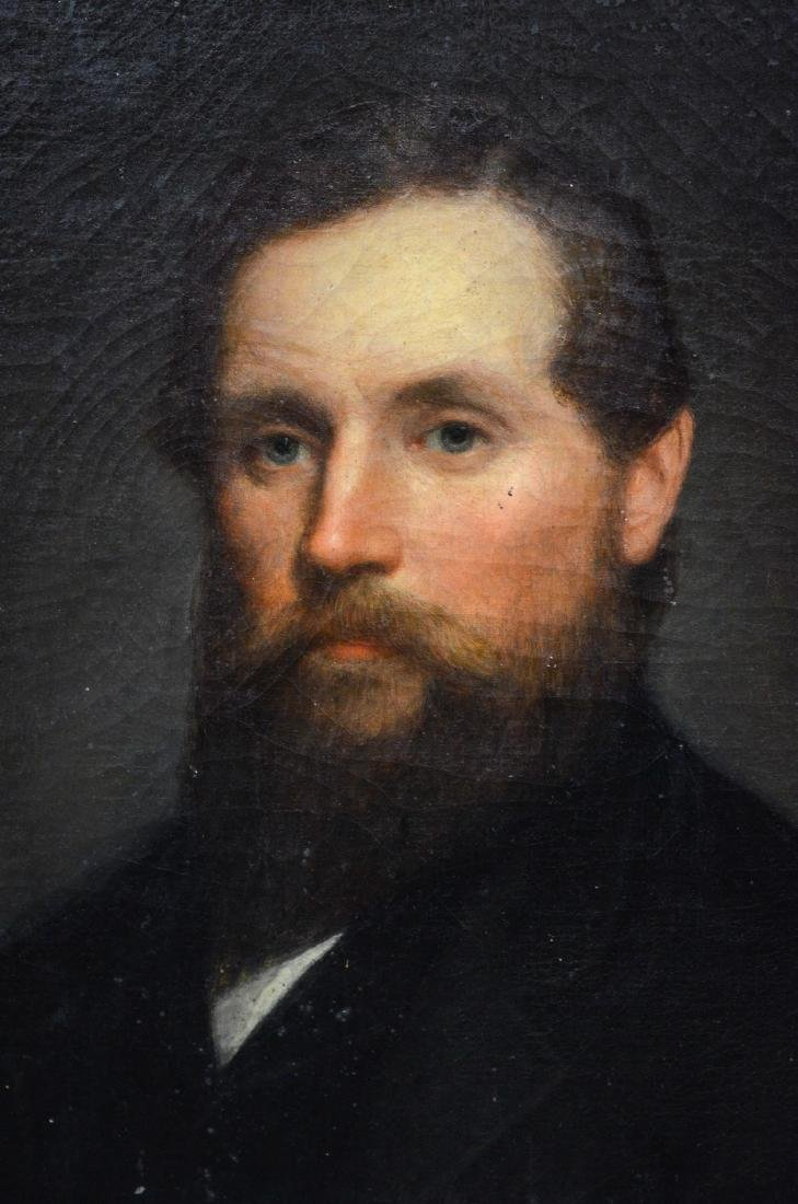 Pair of 19th century Portrait Paintings of a man and - 3