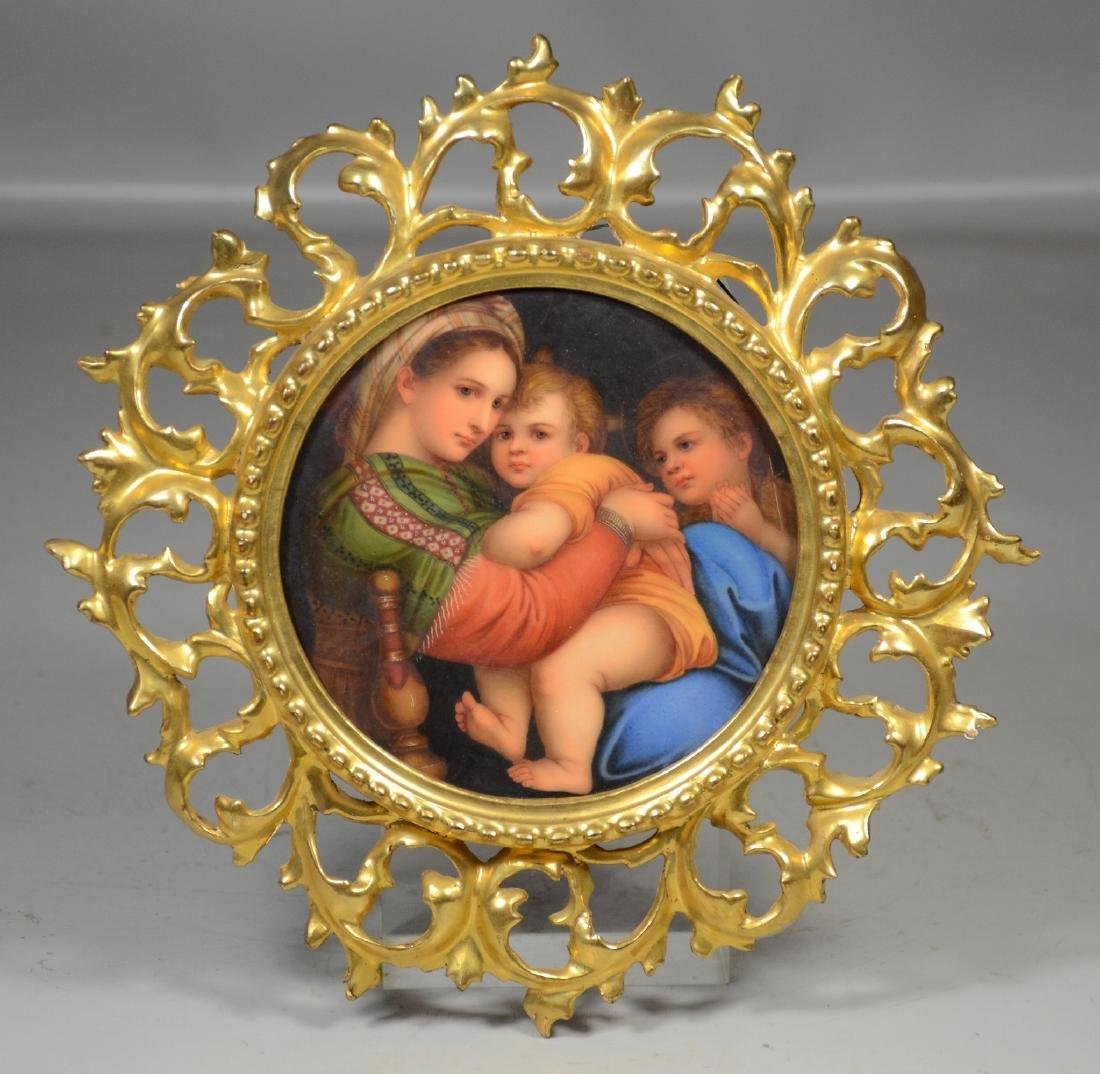 Florentine porcelain plaque after Raphael's Madonna in