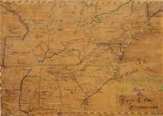 US Hand drawn map on paper laid down on linen c 1837
