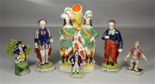 (6) pcs Staffordshire pottery, antique spill vase of