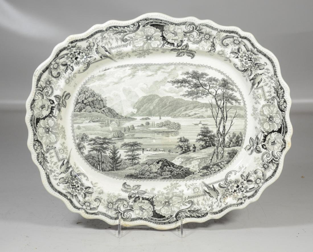 Clews Historical Black Transfer Decorated Platter,